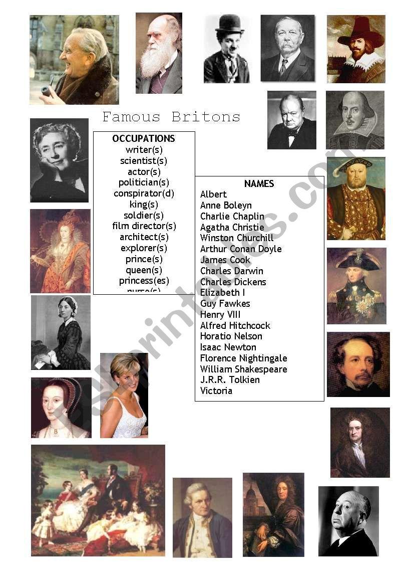 Famous Britons worksheet