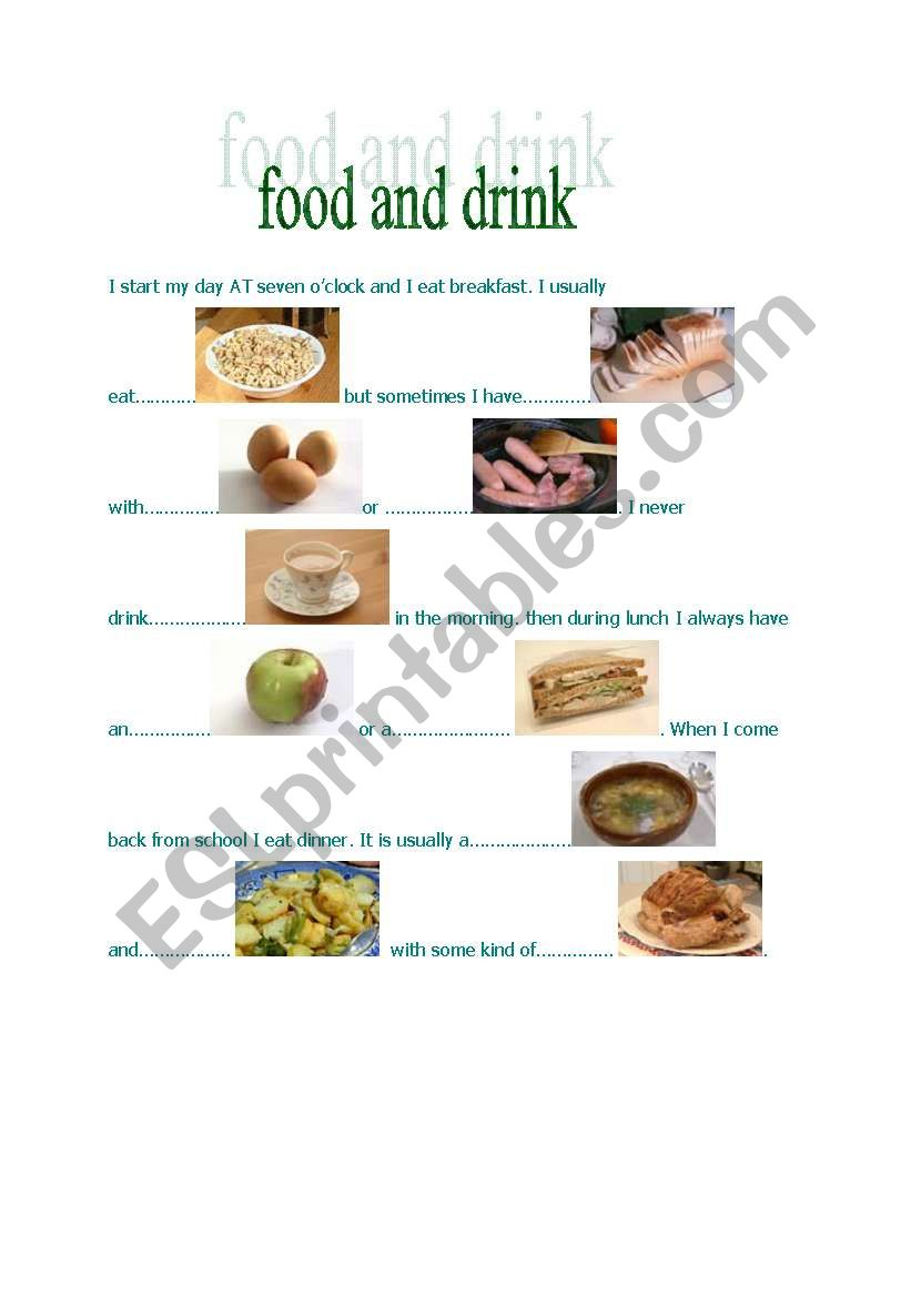 food and drink part I worksheet