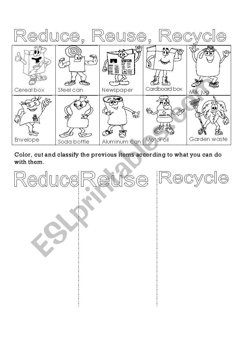 English Worksheets Reduce Reuse Recycle