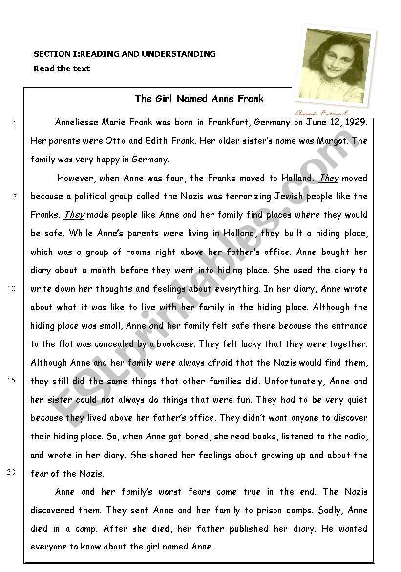 Worksheets Anne Frank Worksheets the story of anne frank reading comprehension esl worksheet by comprehension
