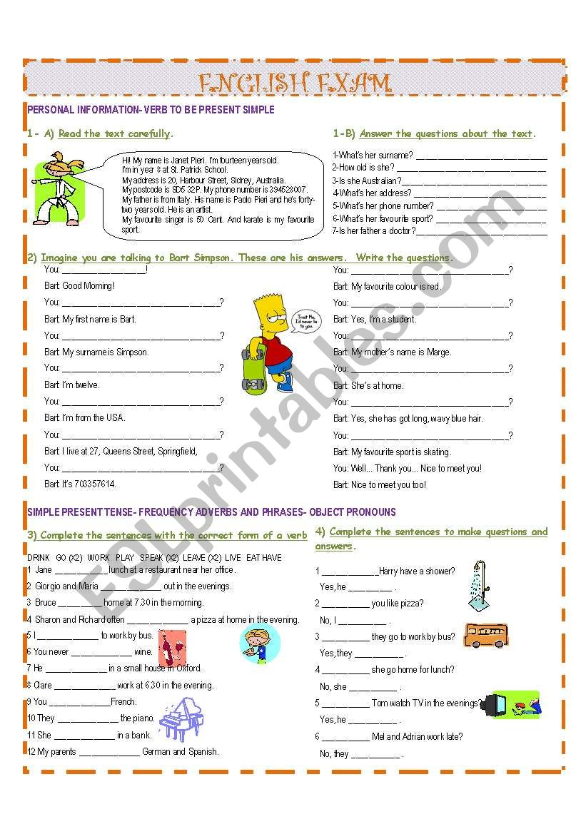 GRAMMAR WORKSHEET  worksheet