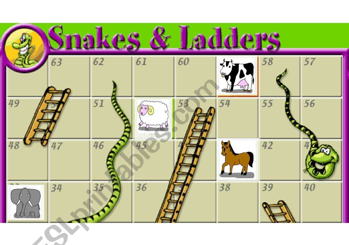 snakes and ladders worksheet