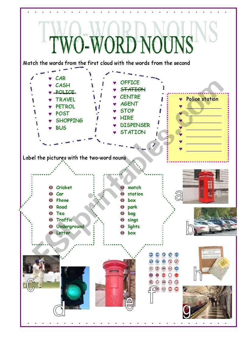 Two-word Nouns worksheet