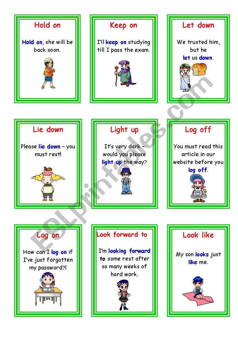 Phrasal Verbs - (3-5) worksheet