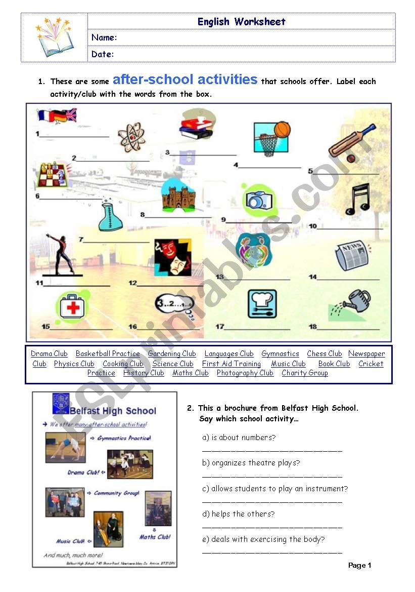 After-school Activities - ESL worksheet by Diana Parracho