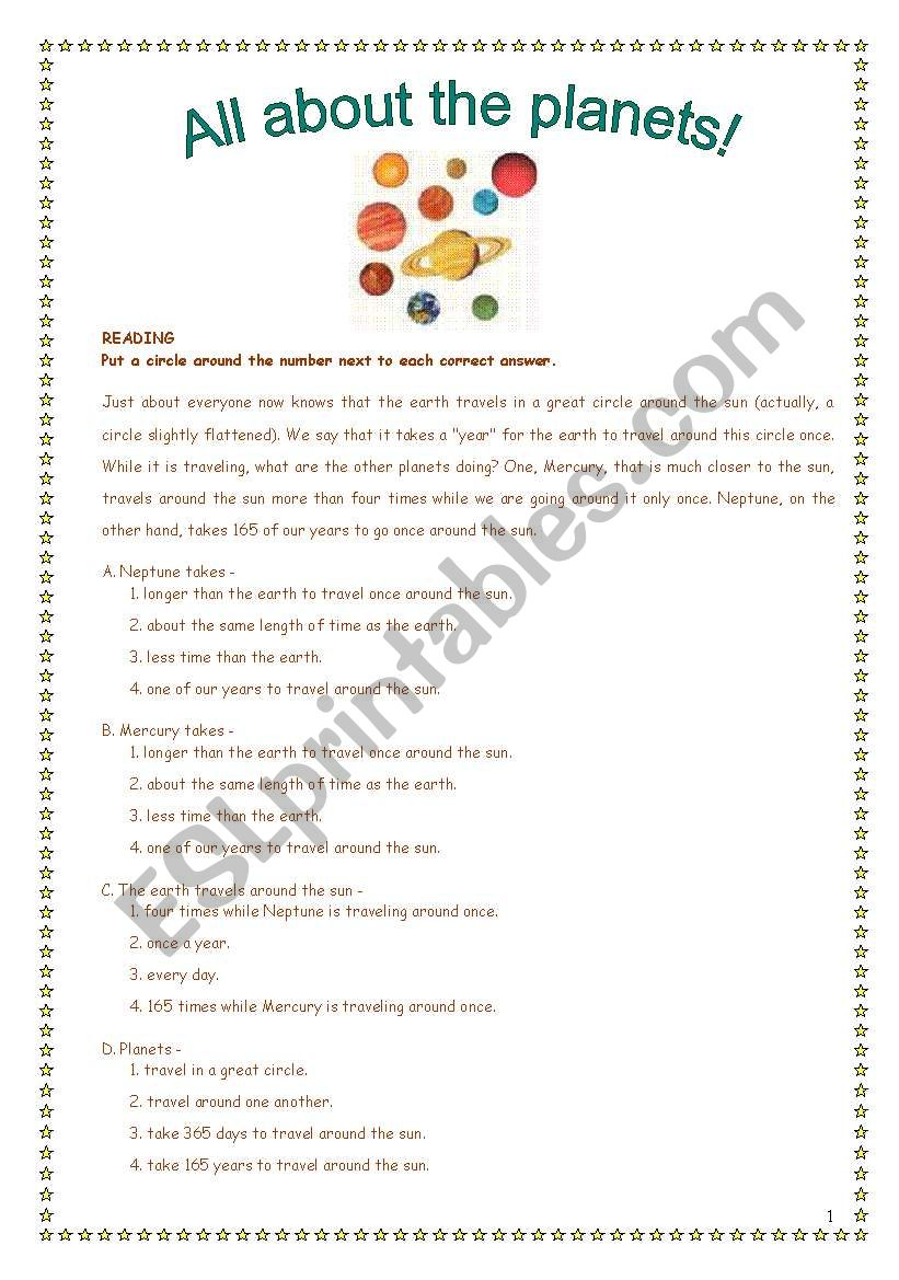Planets! (6 pages) worksheet