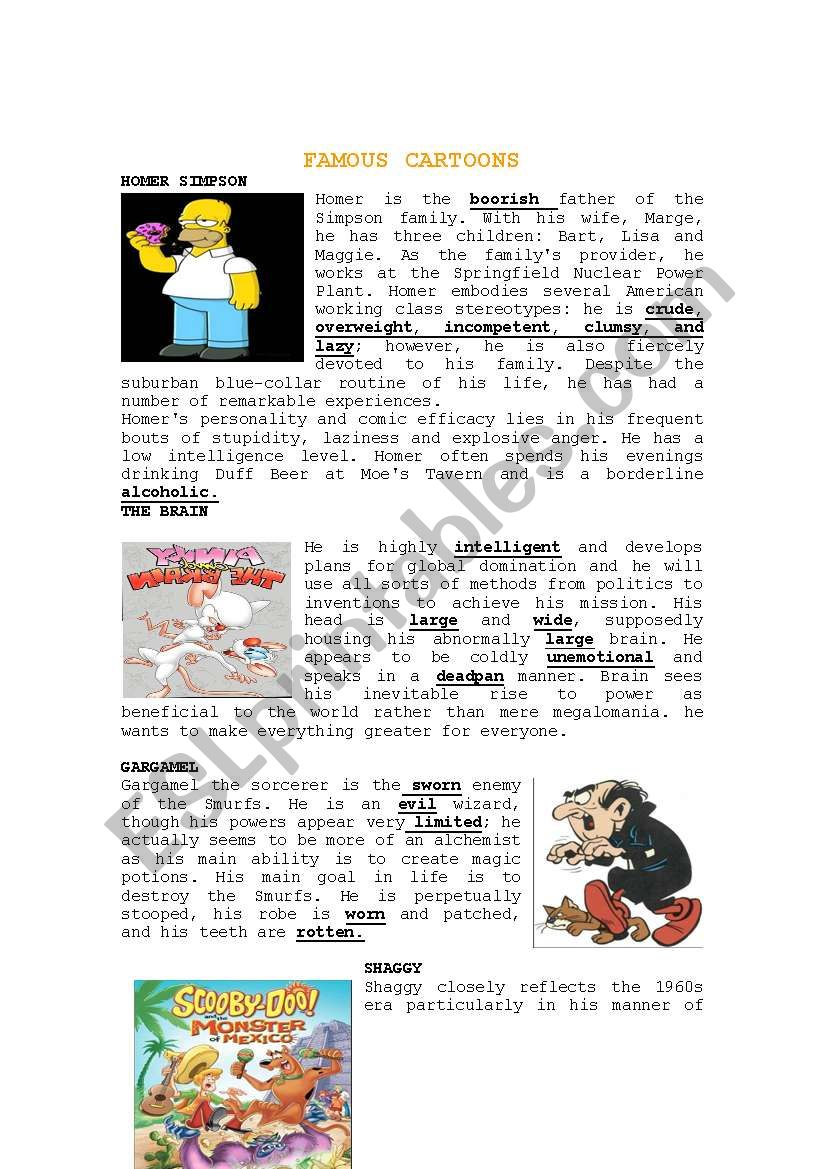 FAMOUS CARTOONS READING worksheet