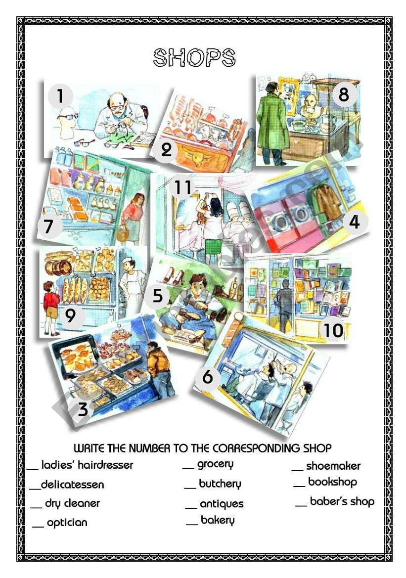 SHOPS IN THE CITY 1 worksheet