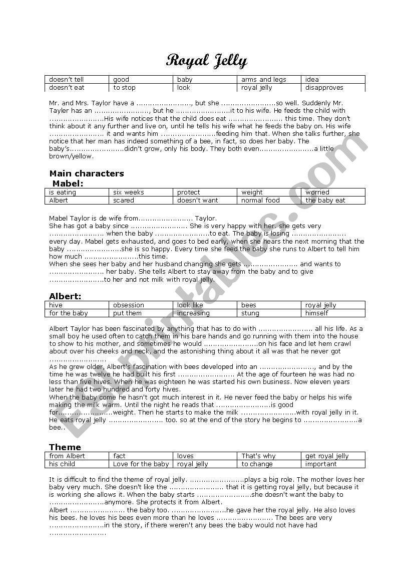Royal Jelly By Roald Dahl Esl Worksheet By Minegurtop
