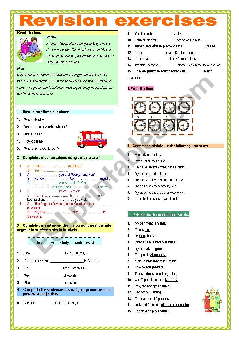 Revision exercises worksheet