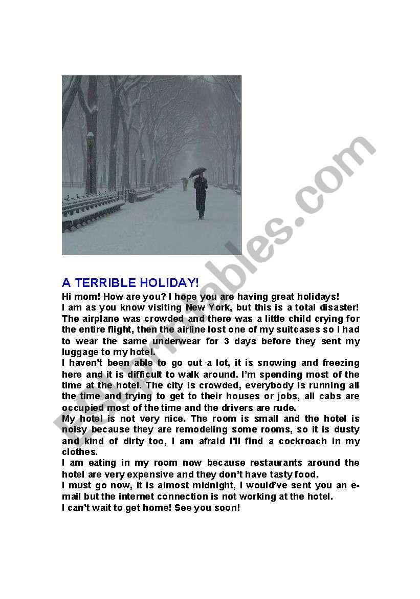 A terrible holiday! worksheet