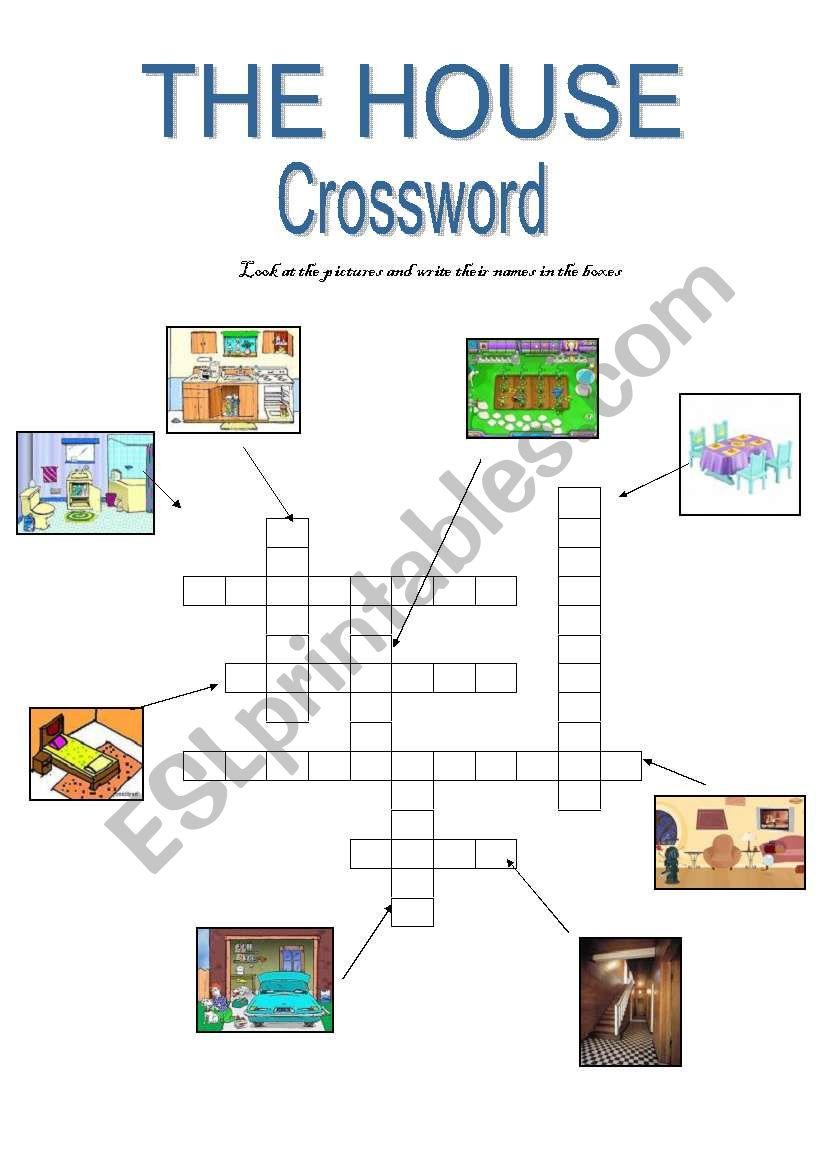 THE HOUSE - crossword worksheet