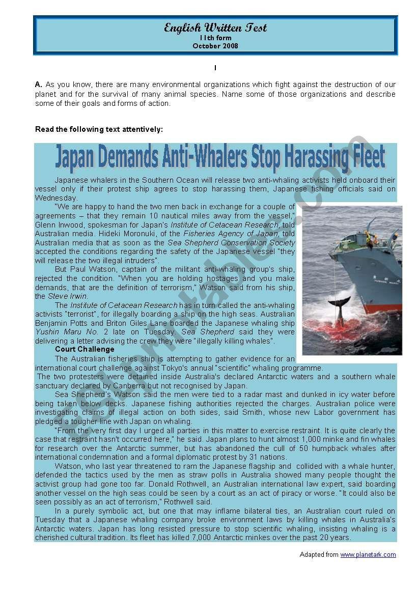 Test Whale hunting in Japan worksheet