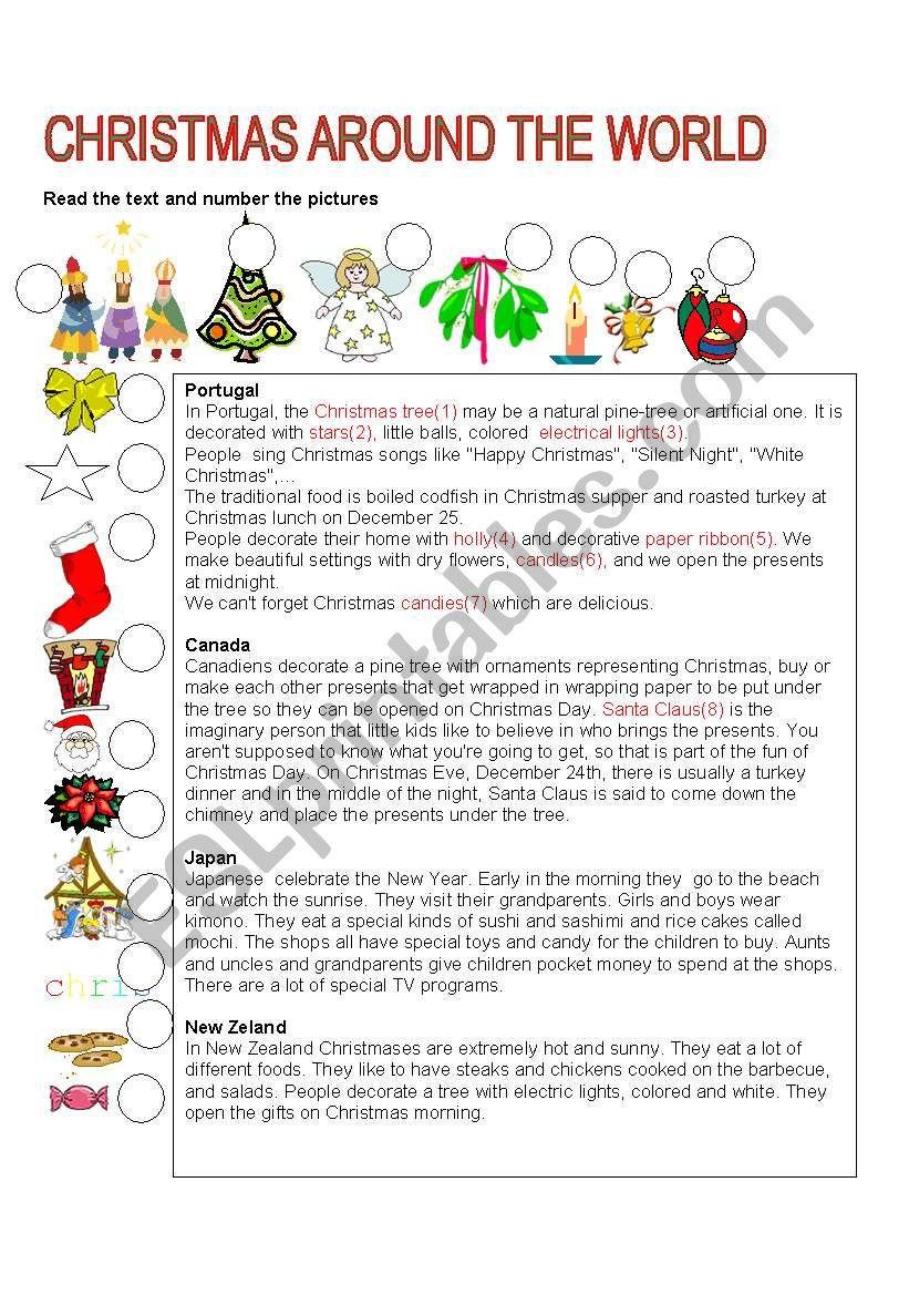 CHRISTMAS AROUND THE WORLD worksheet