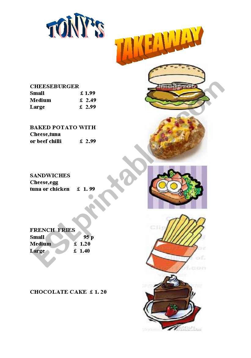ordering food... worksheet