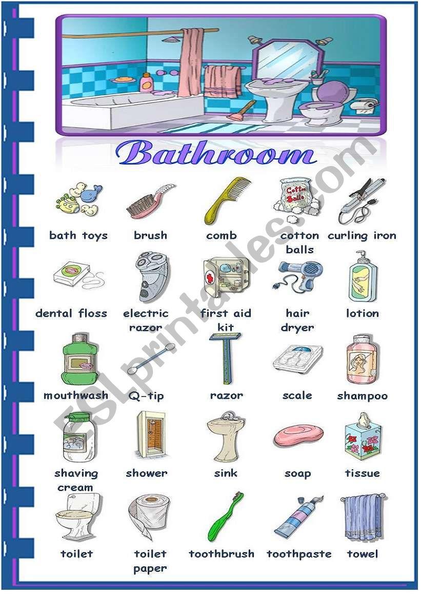 Rooms in the house - bathroom worksheet