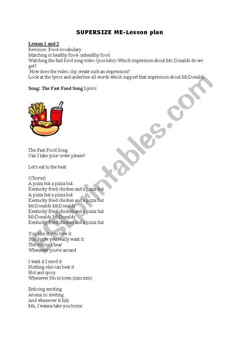 Worksheets Supersize Me Worksheet lesson plan supersize me esl worksheet by rotkappe worksheet