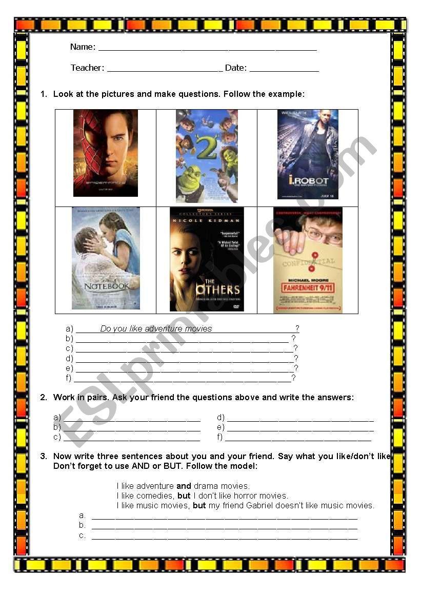 Movie Interaction worksheet