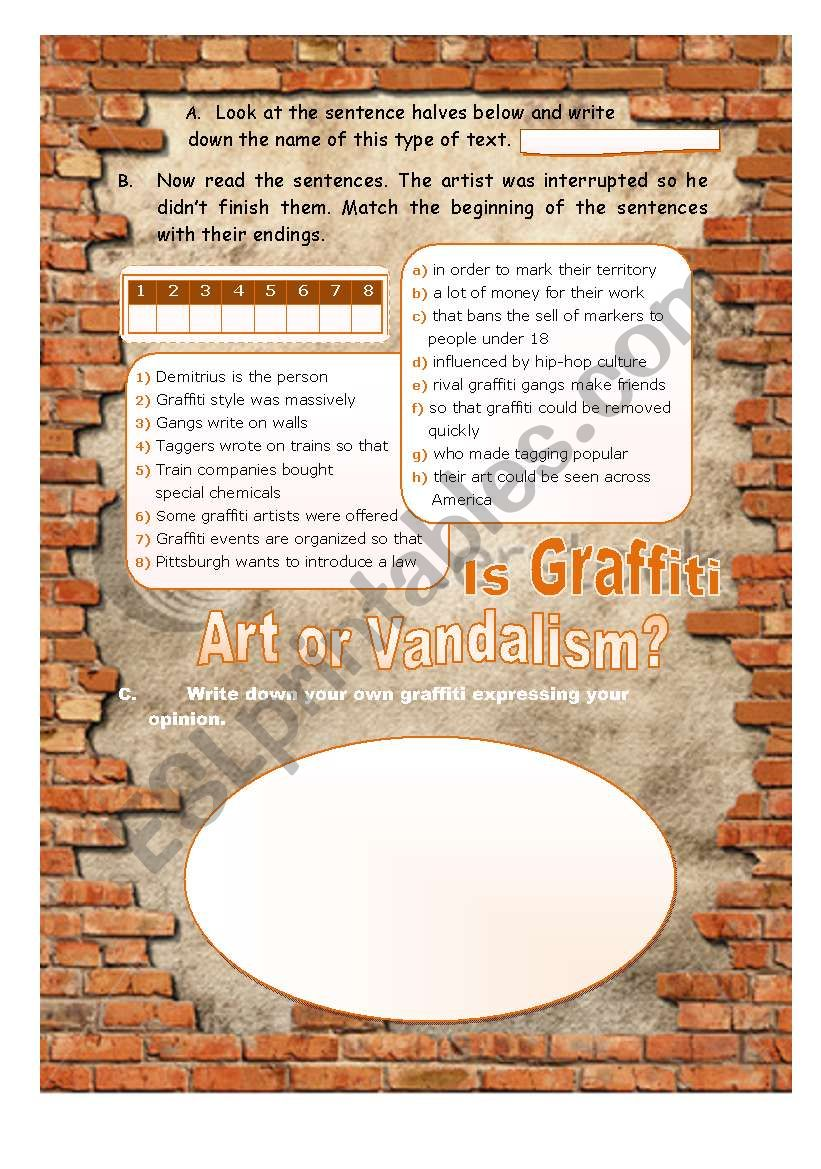 Graffiti: ART or VANDALISM? Pre-Reading activity