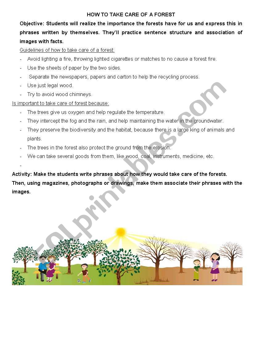 How to take care of a forest worksheet