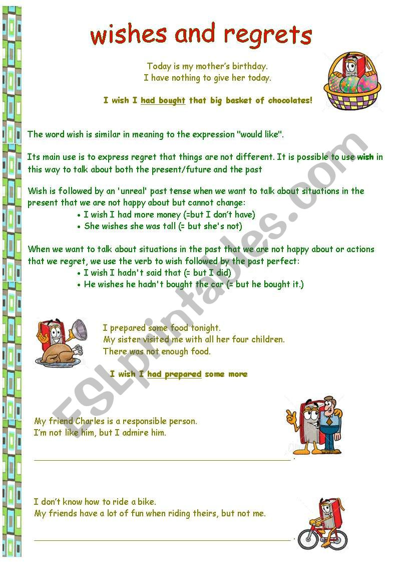 Wishes and regrets (3 pages) worksheet