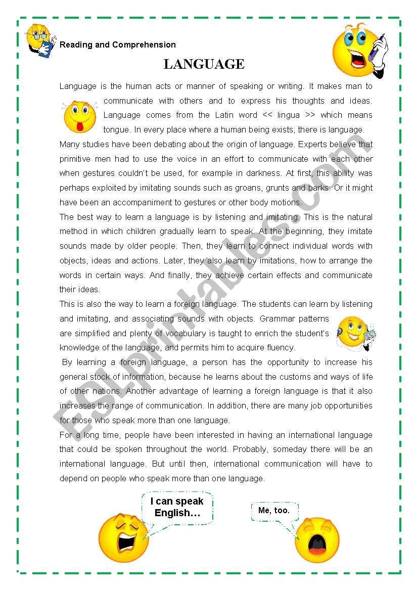 LANGUAGE worksheet