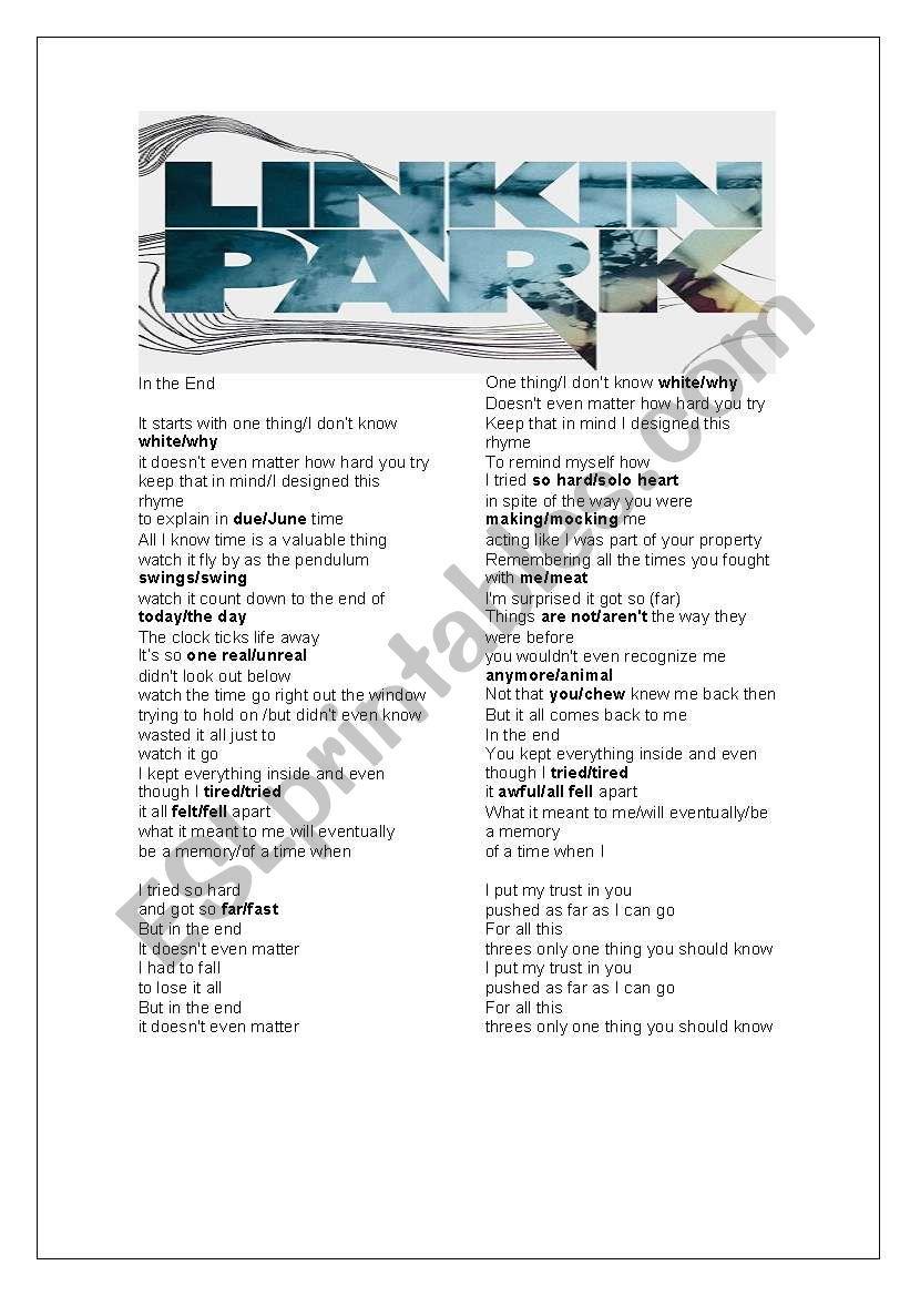 Linkin Park - In The End Cloze - ESL worksheet by Wariyaporn