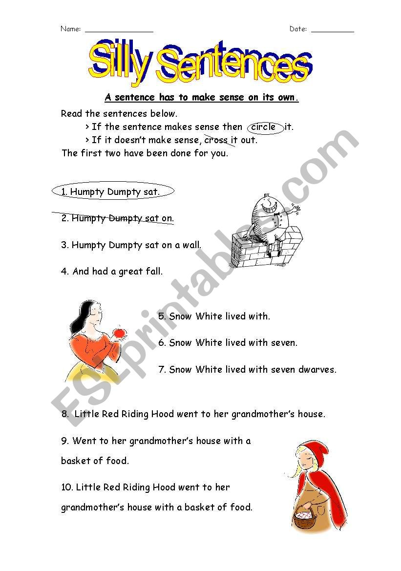 english worksheets silly sentences using familiar nursery rhymes fairy tales. Black Bedroom Furniture Sets. Home Design Ideas