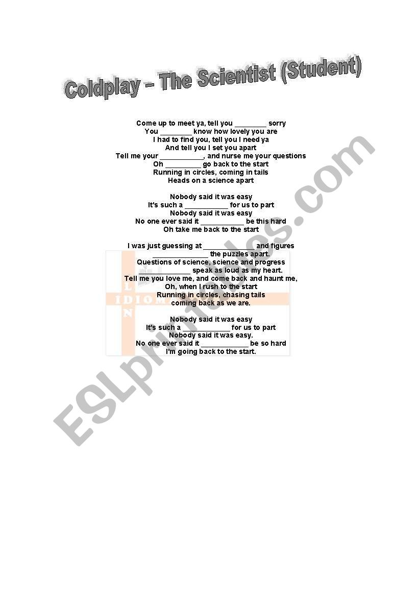 English Worksheets The Scientist By Coldplay Lyrics And Missing