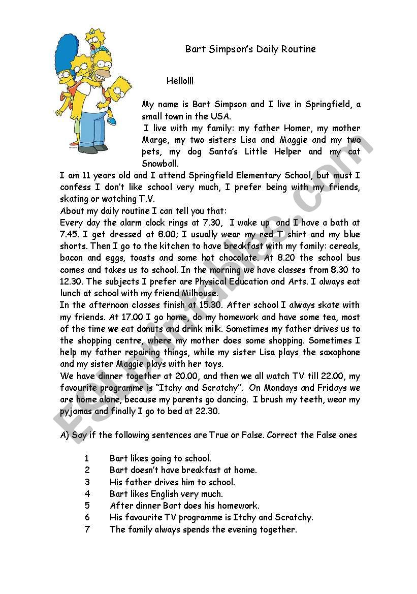 Bart Simpson´s daily routine worksheet