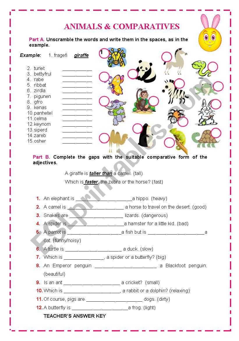 ANIMALS & COMPARATIVES worksheet