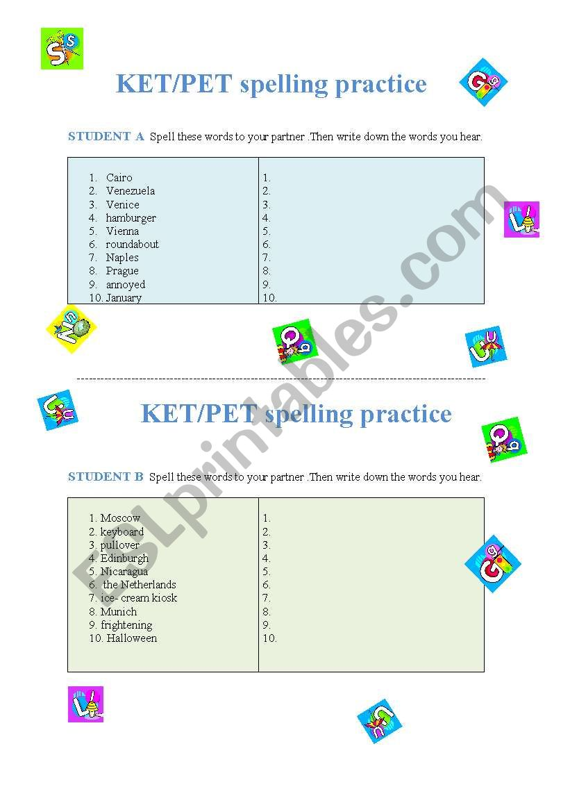 KET/PET spelling practice worksheet