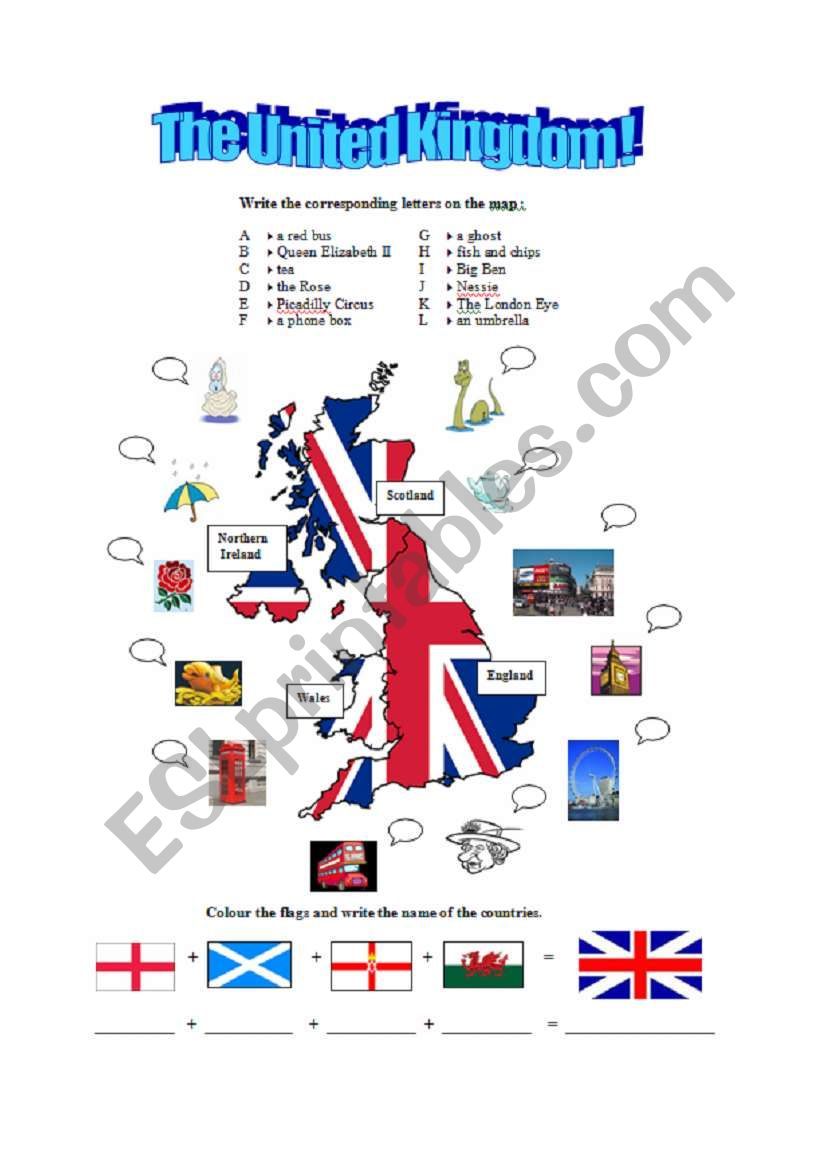 British Map And Symbols Esl Worksheet By Annevaleriemiche