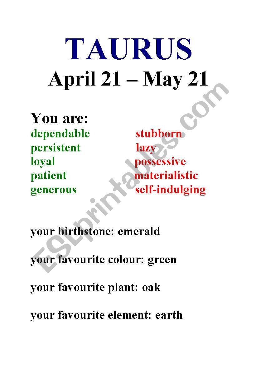 Zodiac Signs - ESL worksheet by annaturlakiewicz