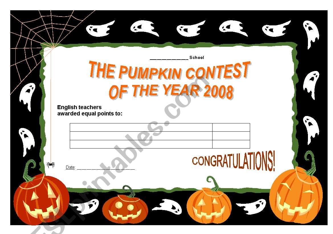 certificate to Hallowe´en contest