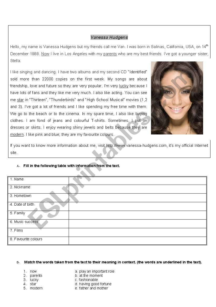 meet Vanessa Hudgens from HIGH SCHOOL MUSICAL - reading tasks