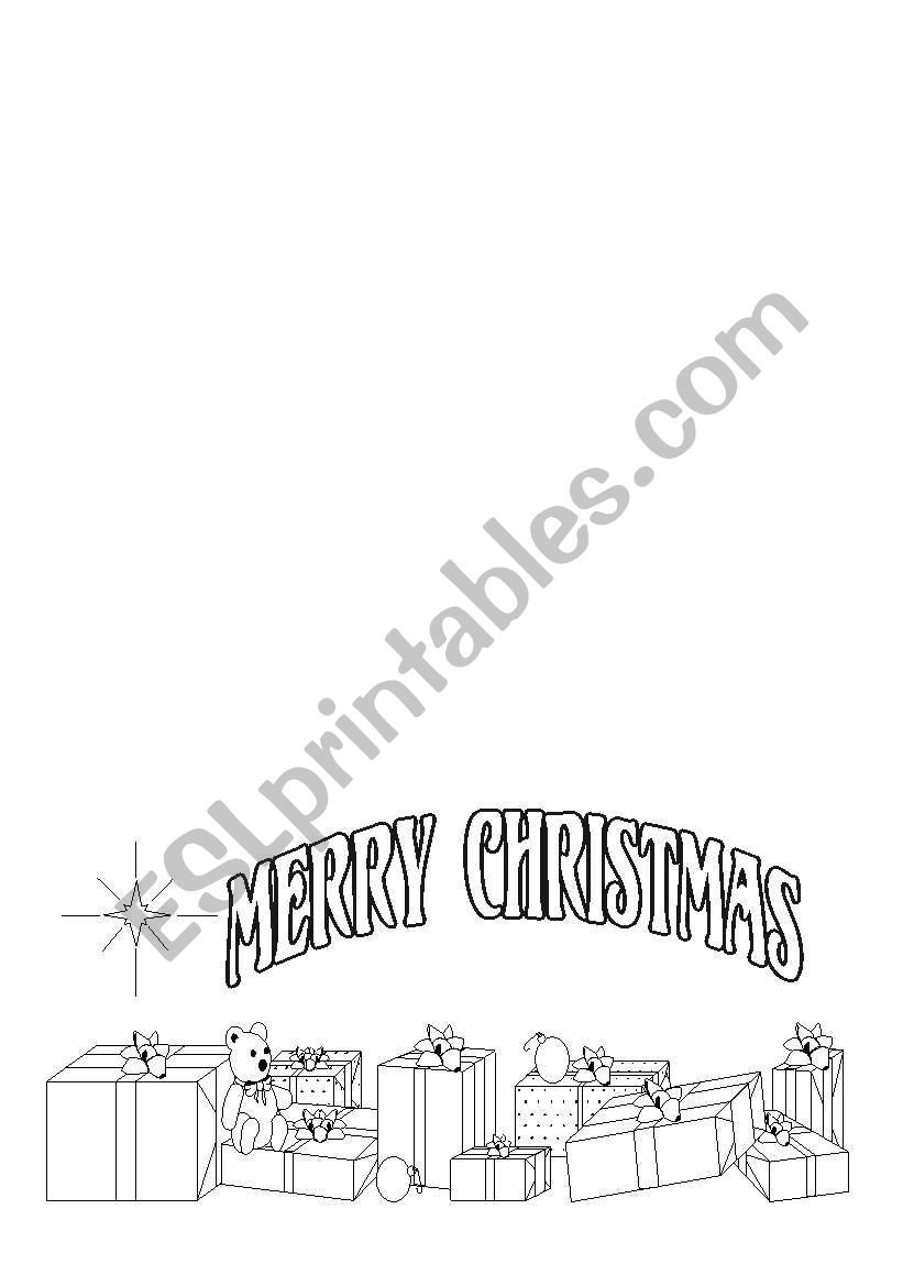Christmas card to color worksheet
