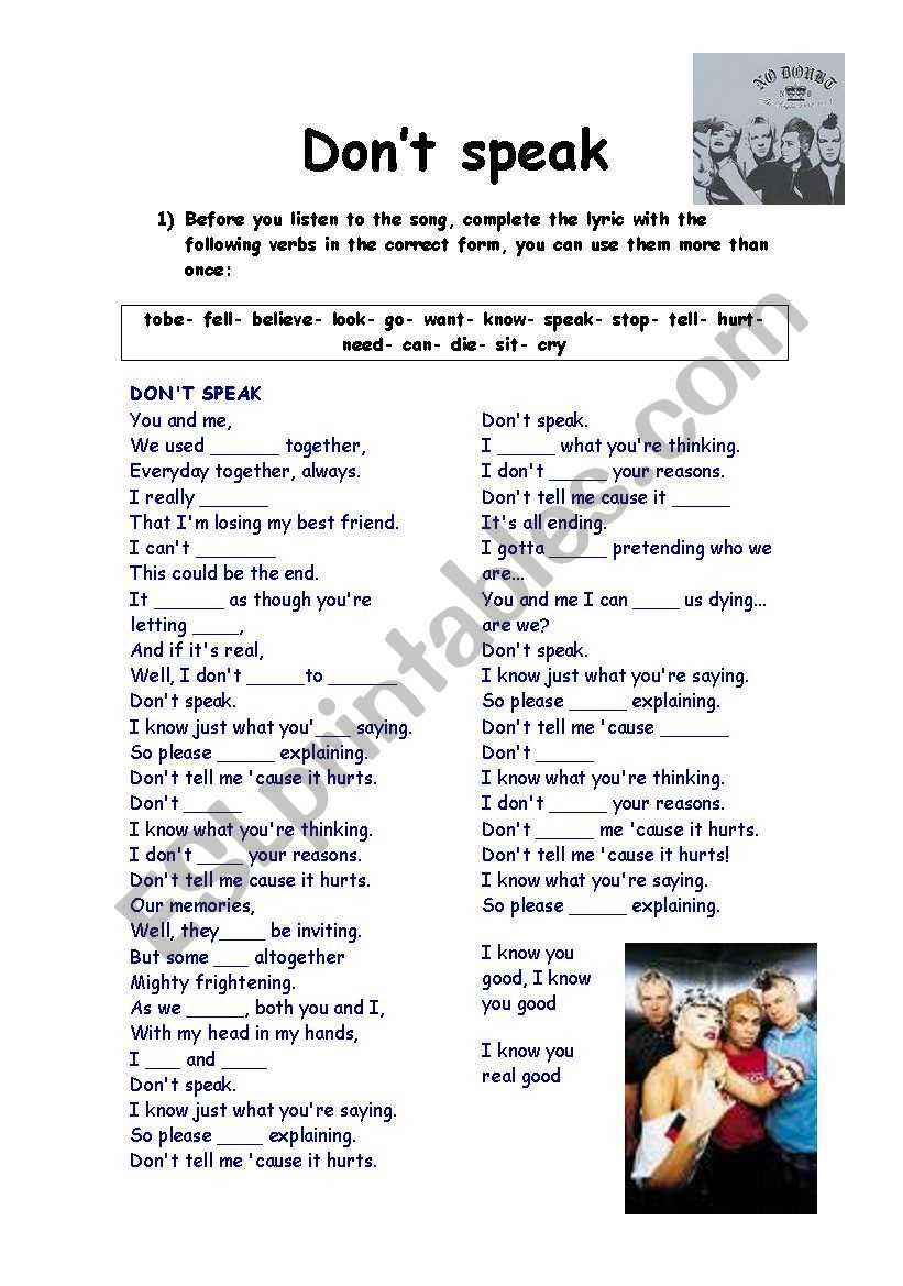 DON´T SPEAK  BY NO DOUBT worksheet