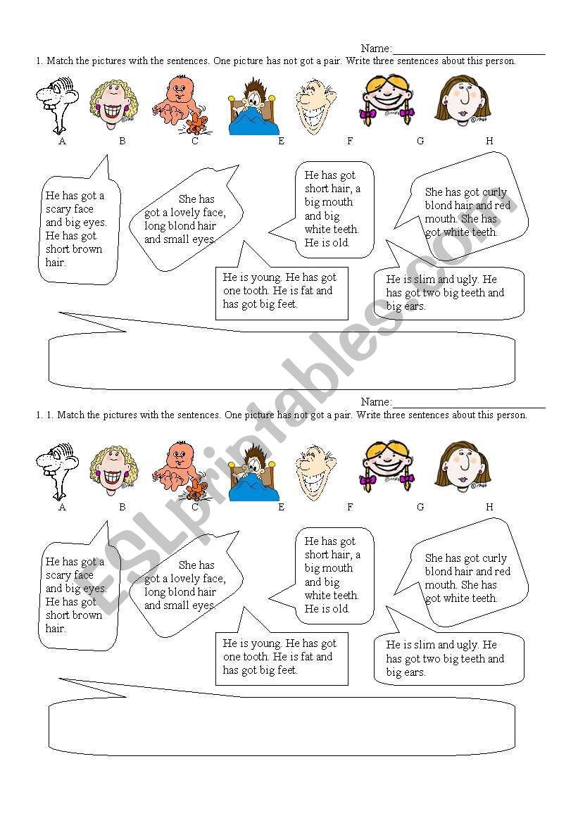 Faces worksheet