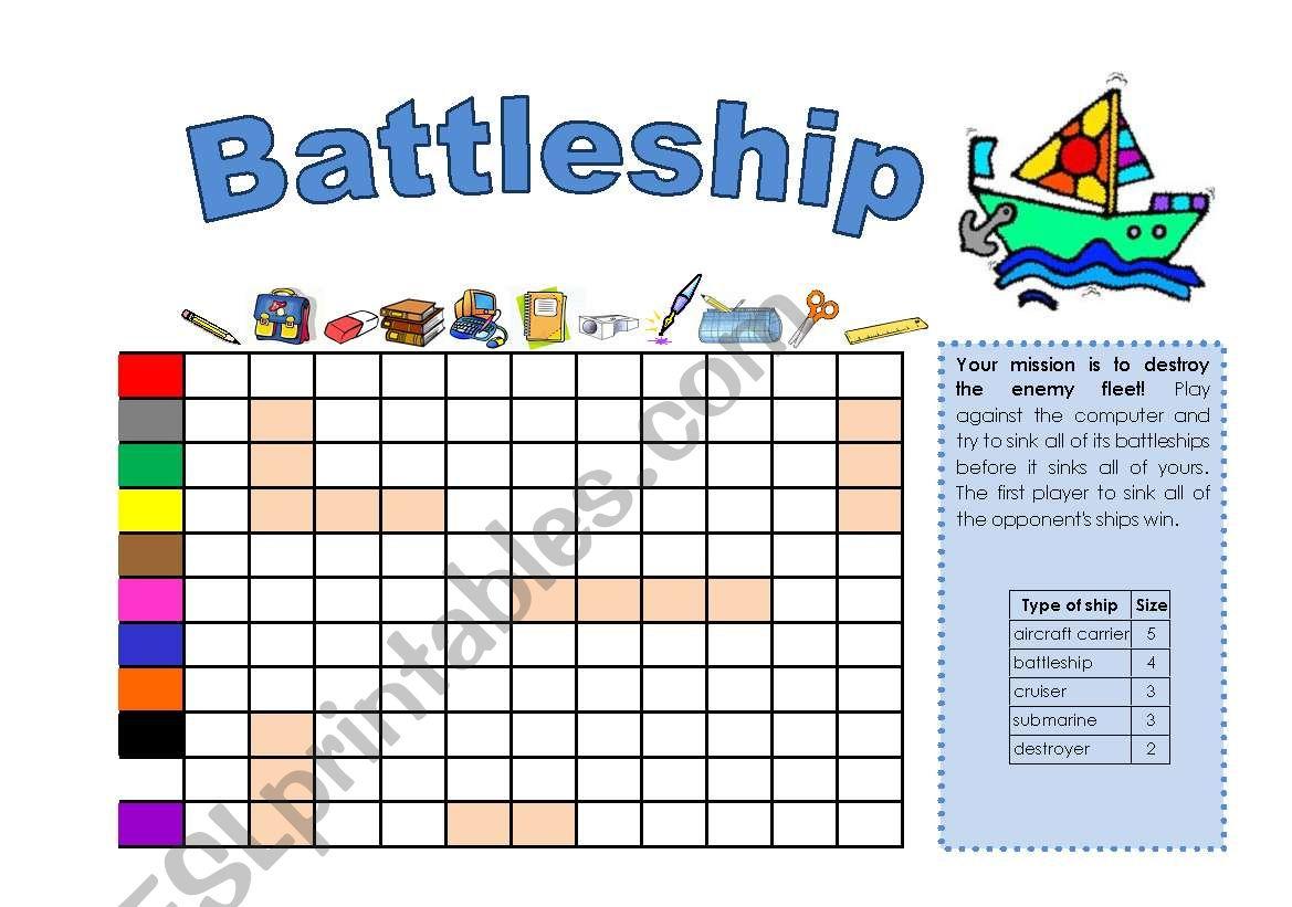 battleship worksheet