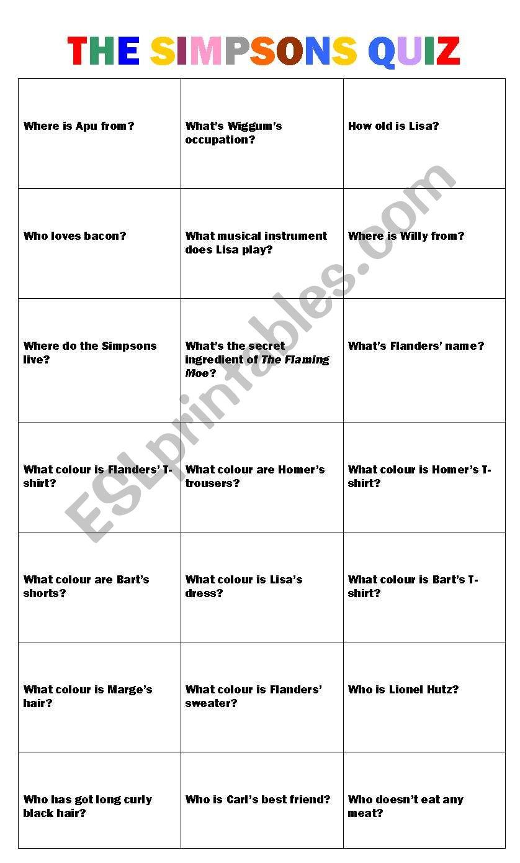 The Simpsons Quiz worksheet
