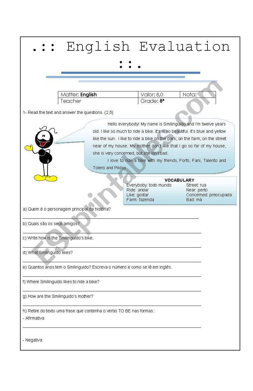 English Evaluations worksheet
