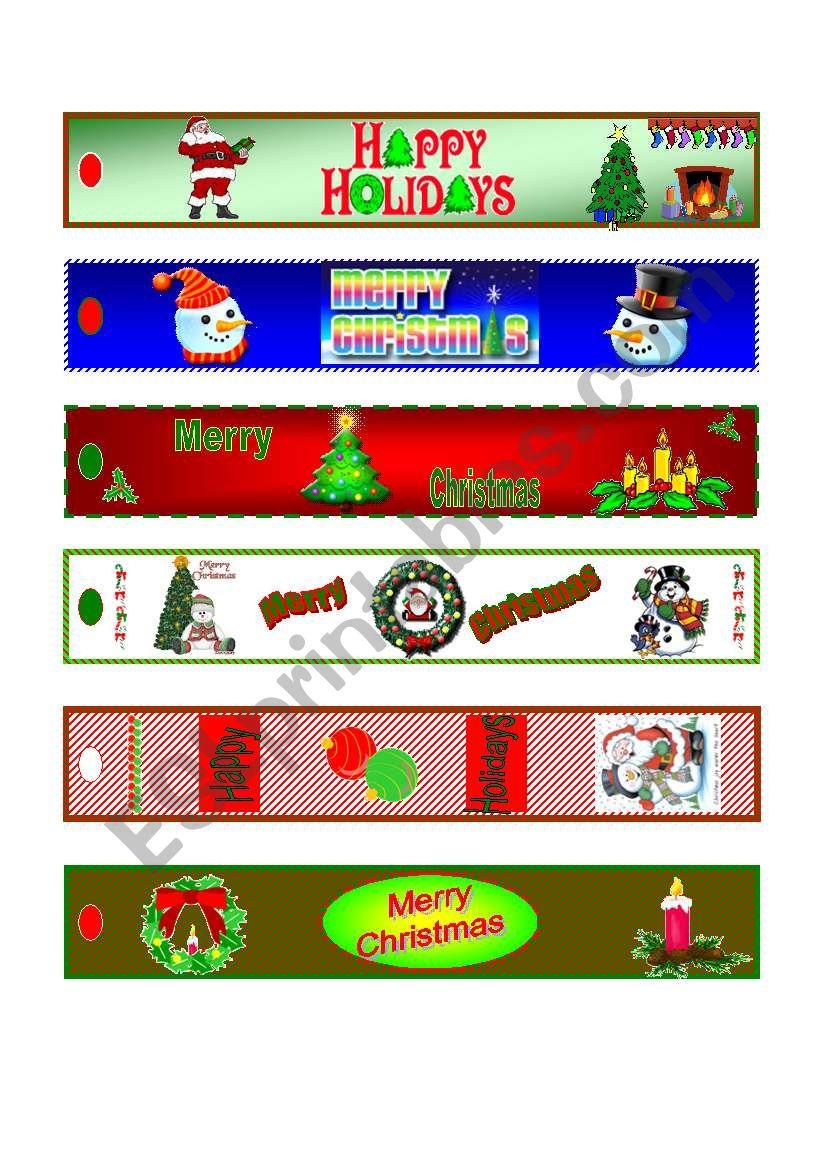 CHRISTMAS bookmarks worksheet