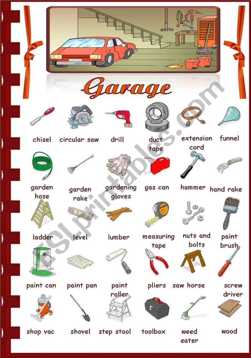 Rooms in the house- Garage worksheet