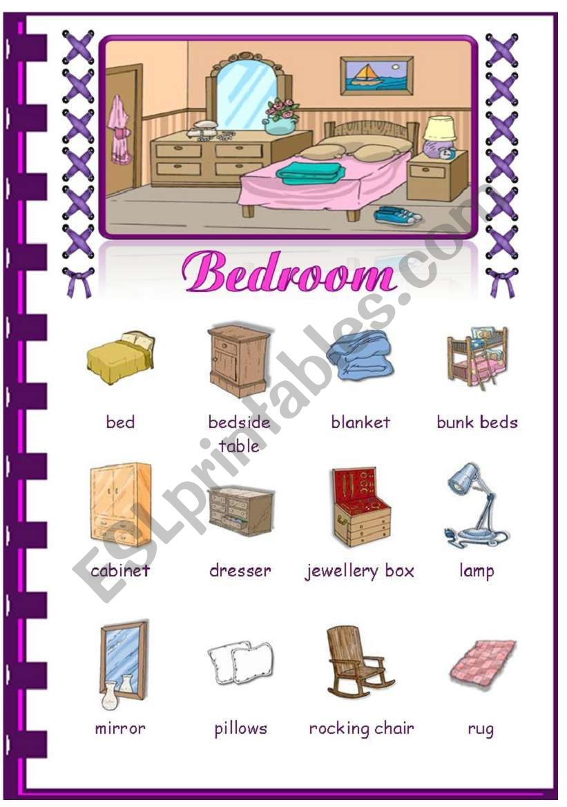 Rooms in the house- Bedroom worksheet