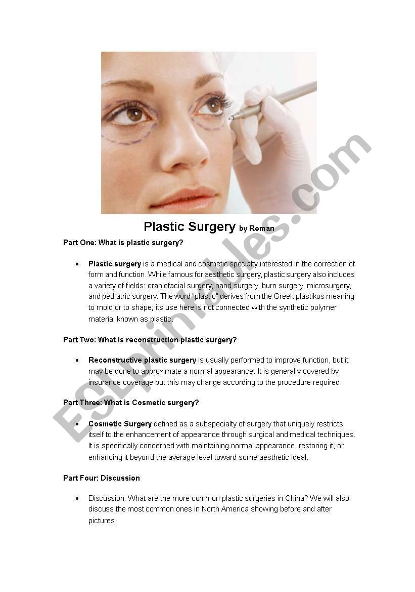 Plastic Surgery Esl Worksheet By Rolcom