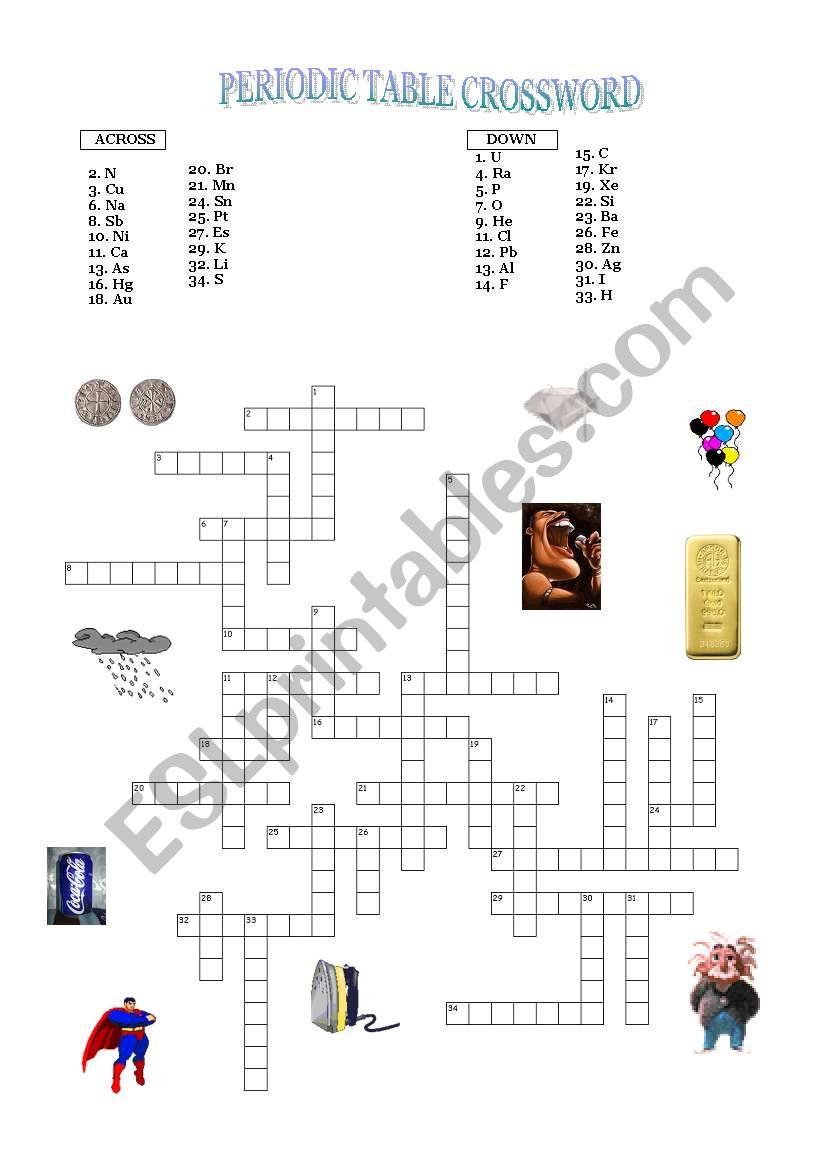 Periodic Table Crossword worksheet