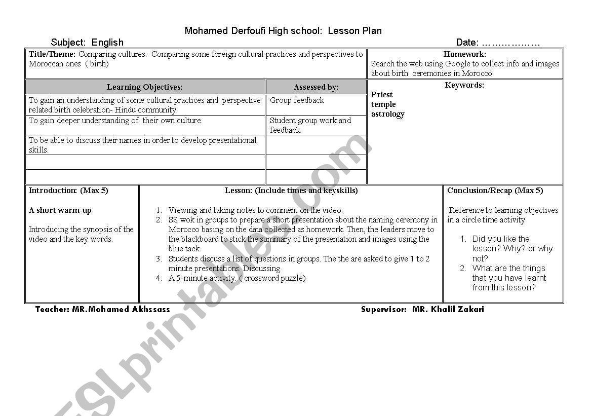 Comparing cultures worksheet
