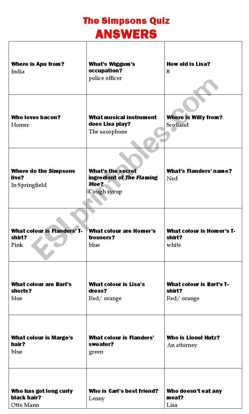 ANSWERS -The Simpsons Quiz worksheet