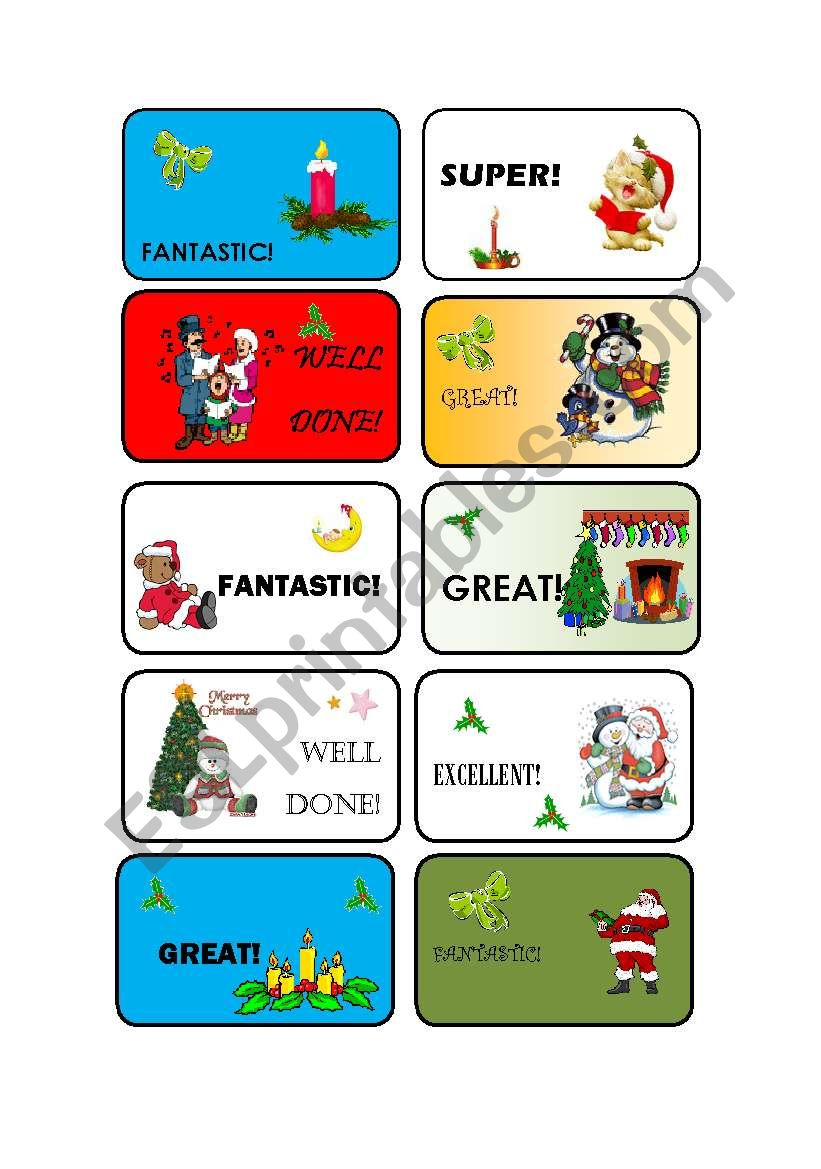 Christmas rewards worksheet